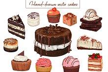 27 Hand-drawn vector cakes set.
