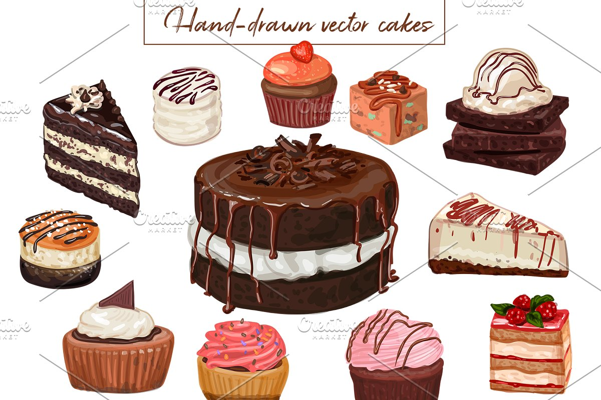ab7dcb55e57c 27 Hand-drawn vector cakes set. ~ Illustrations ~ Creative Market