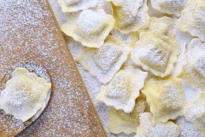 Preparing fresh ravioli