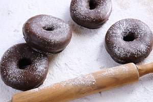 Chocolate donuts.