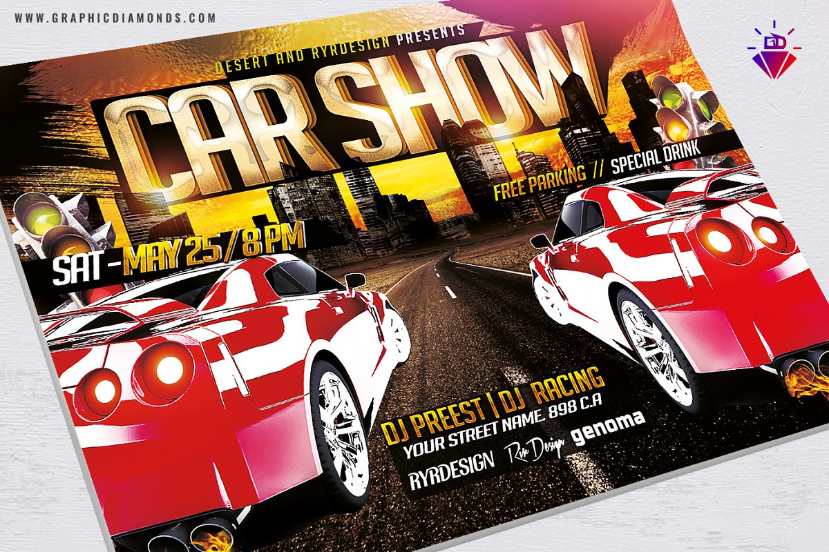 Car Show Flyer PSD + Two Versions ~ Flyer Templates