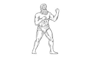 Bearded Boxer Fighting Stance Drawin