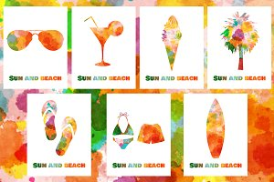 Watercolor summer vacation cards.