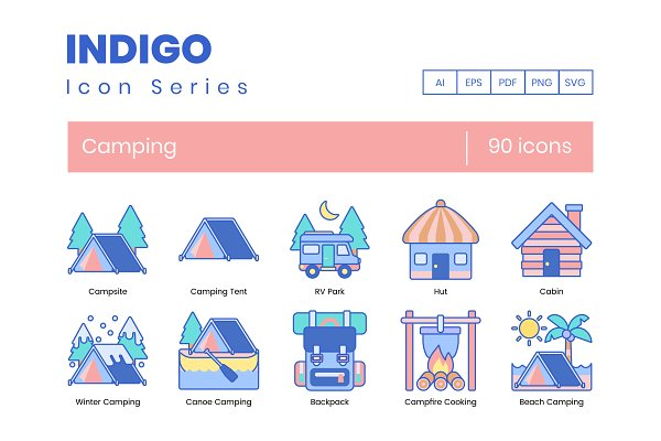 Icons: Flat Icons - 90 Camping Icons | Indigo Series