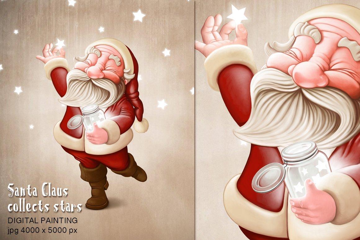 Santa claus collects stars illustrations creative market