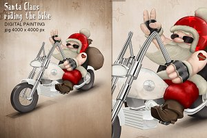 Santa Claus riding the bike