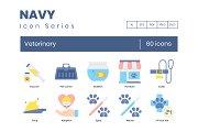 60 Veterinary Icons | Navy Series