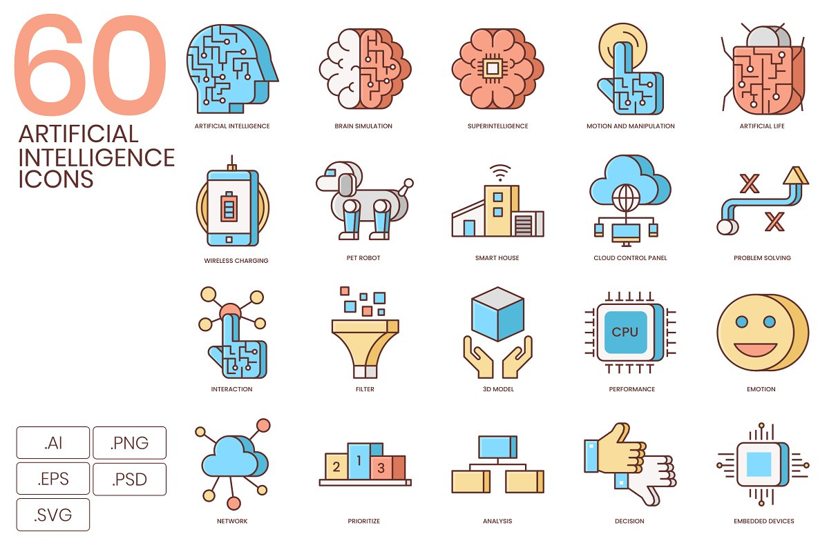 Artificial Intelligence Flat Icons