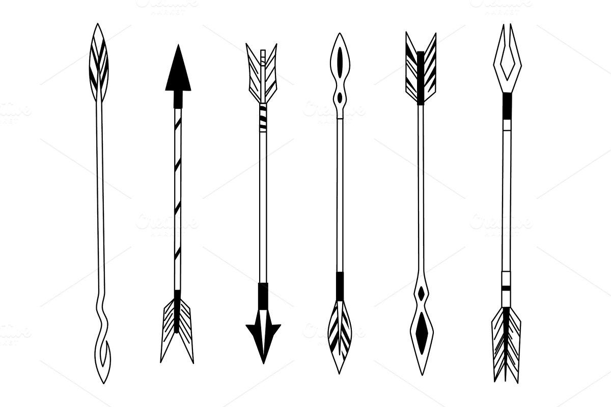 4ed39d69ad1b4 Hand drawn feather arrow, tribal ~ Illustrations ~ Creative Market
