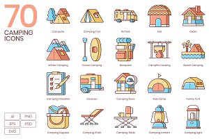 70 Camping Icons | Honey Series