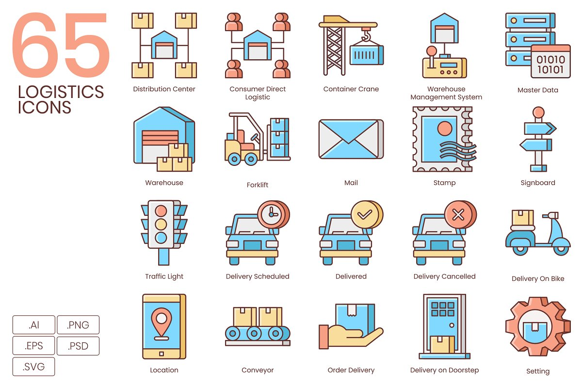 Shipping, Logistics, Delivery Icons in Safety Icons
