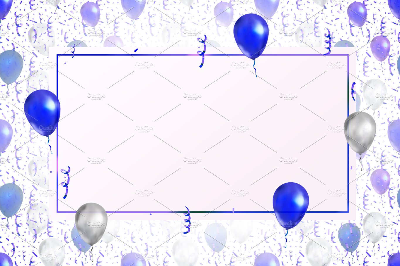 Lovely Background With Blue Balloons Illustrations Creative Market