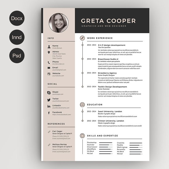 Clean Cv Resume Ii Resume Templates Creative Market - Cv-resume-with-picture