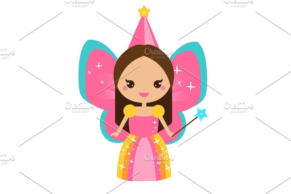 Cute kawaii magic fairy character