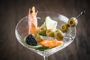 Seafood in martini glass