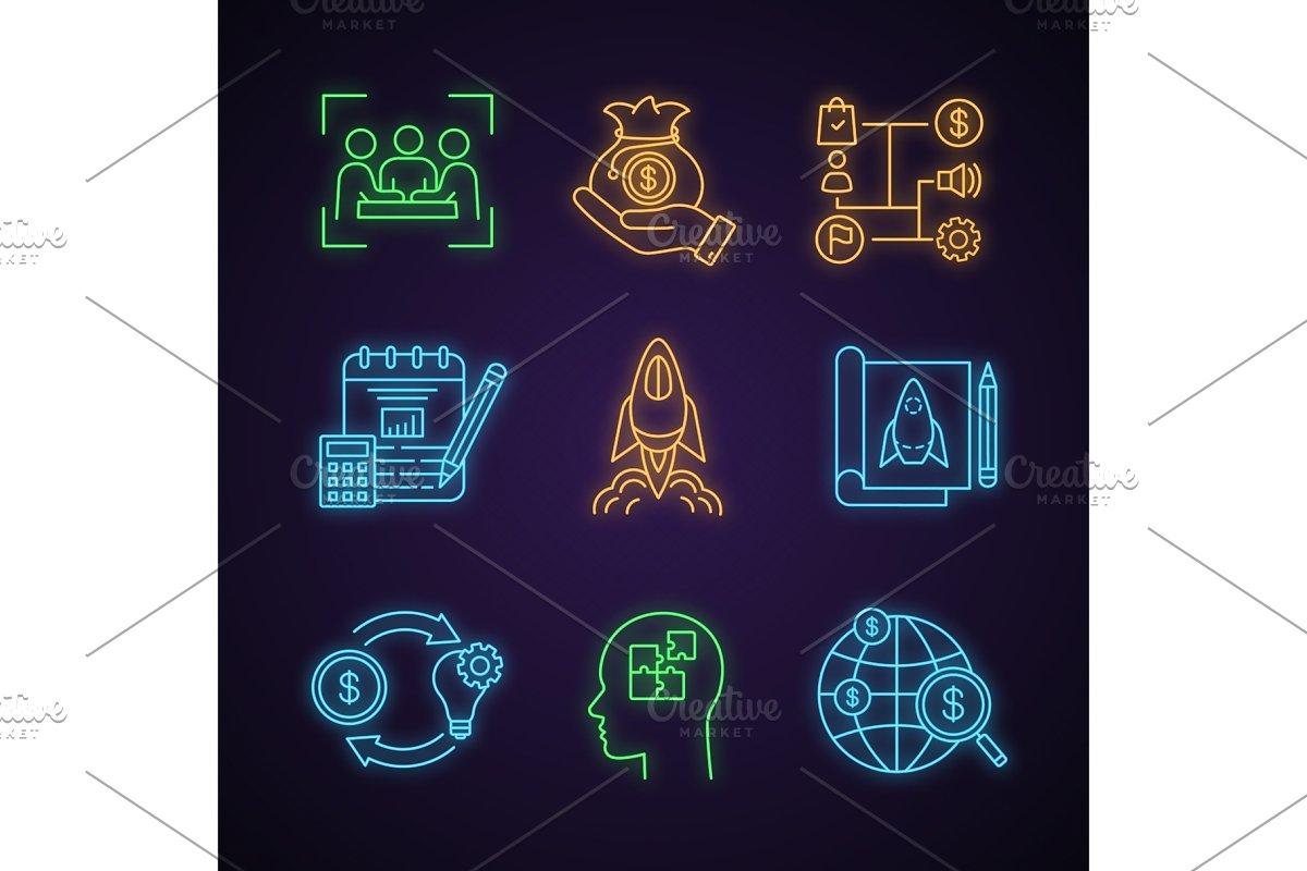Startup neon light icons set