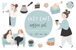 Cozy Cafe - illustrations, lettering
