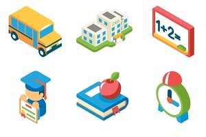 School and education isometric icons