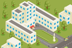 Isometric 3d flat college