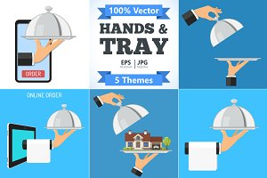 Hands with Tray and Objects concept