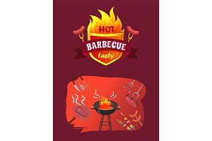 Hot Barbecue Party Brazier Vector