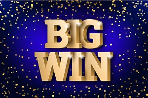 The gold 3d word Big Win. Gambling