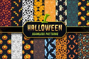 Halloween Seamless Patterns Set 1