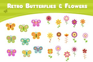 Retro Butterflies & Flowers