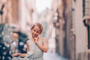 Adorable fashion little girl outdoor