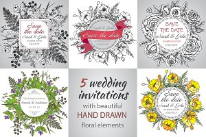 5 wedding invitation cards