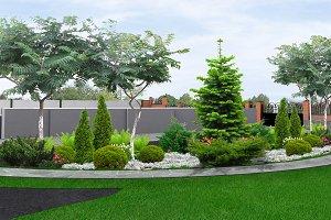 Estate landscape design, 3d render