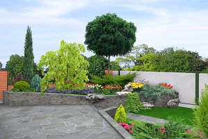 Front yard multi level landscaping