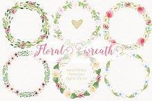 Watercolor flower wreaths