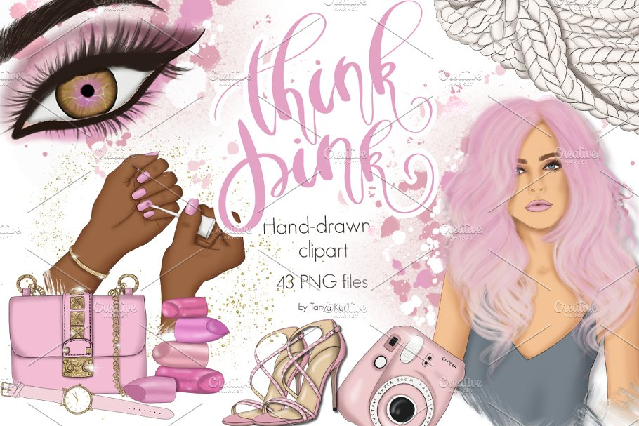 Think Pink Clipart & Patterns
