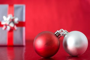 Silver gift box and Christmas balls