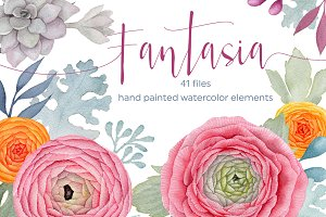 Fantasia. Watercolor flowers pack