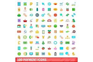100 icons set, cartoon style