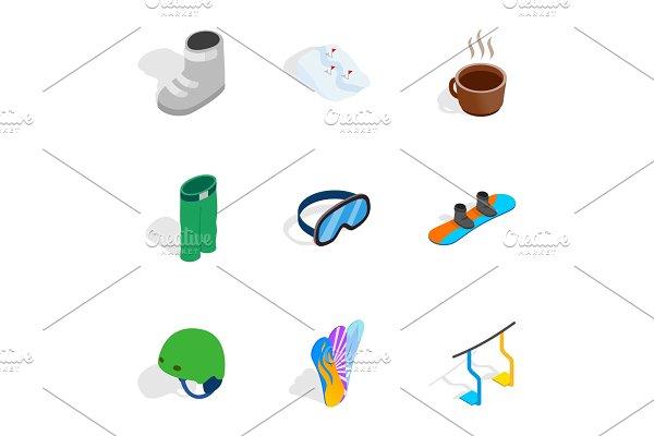 Snowboarding elements icons set