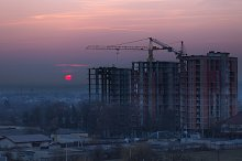 Sunset in construction zone by  in Industrial