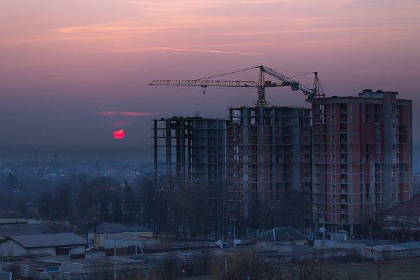 Stock Photos: MentlaStore - Sunset in construction zone