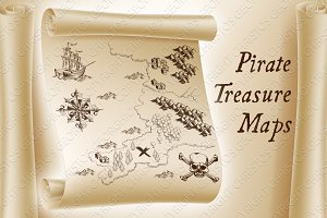 Pirate Treasure Maps and Map Kit