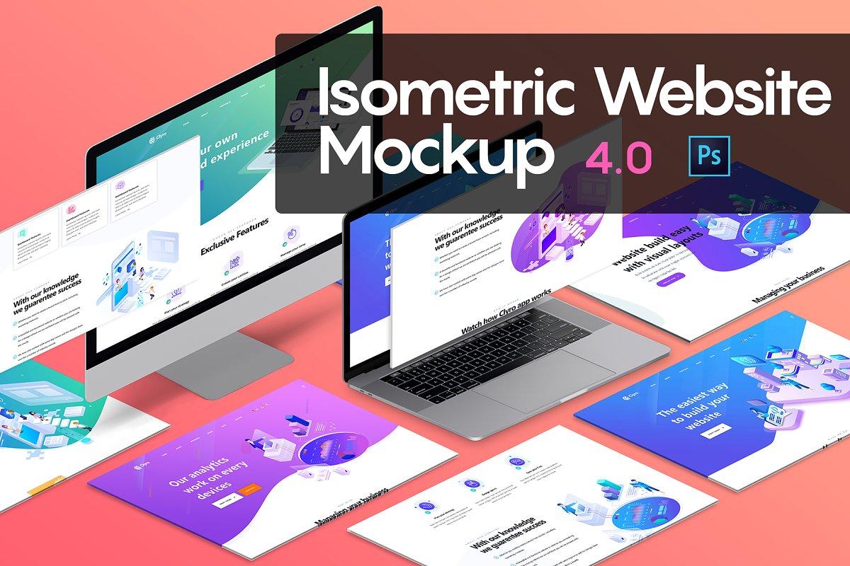 Isometric Website Mockup 4 0 Creative Mobile Web Mockups