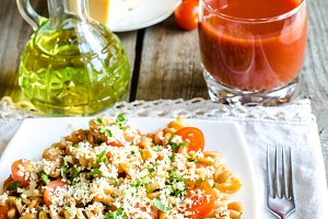 Fusilli pasta with cheese