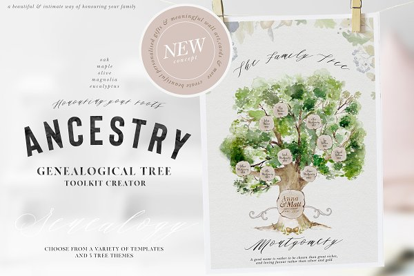 Illustrations: OpiaDesigns - Ancestry - Genealogical Tree Creator