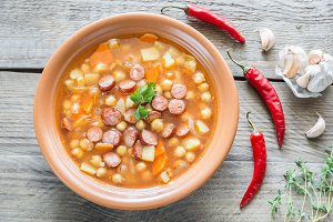 Soup with chickpeas and sausage
