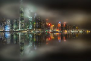Skyline of Hong Kong in mist, China