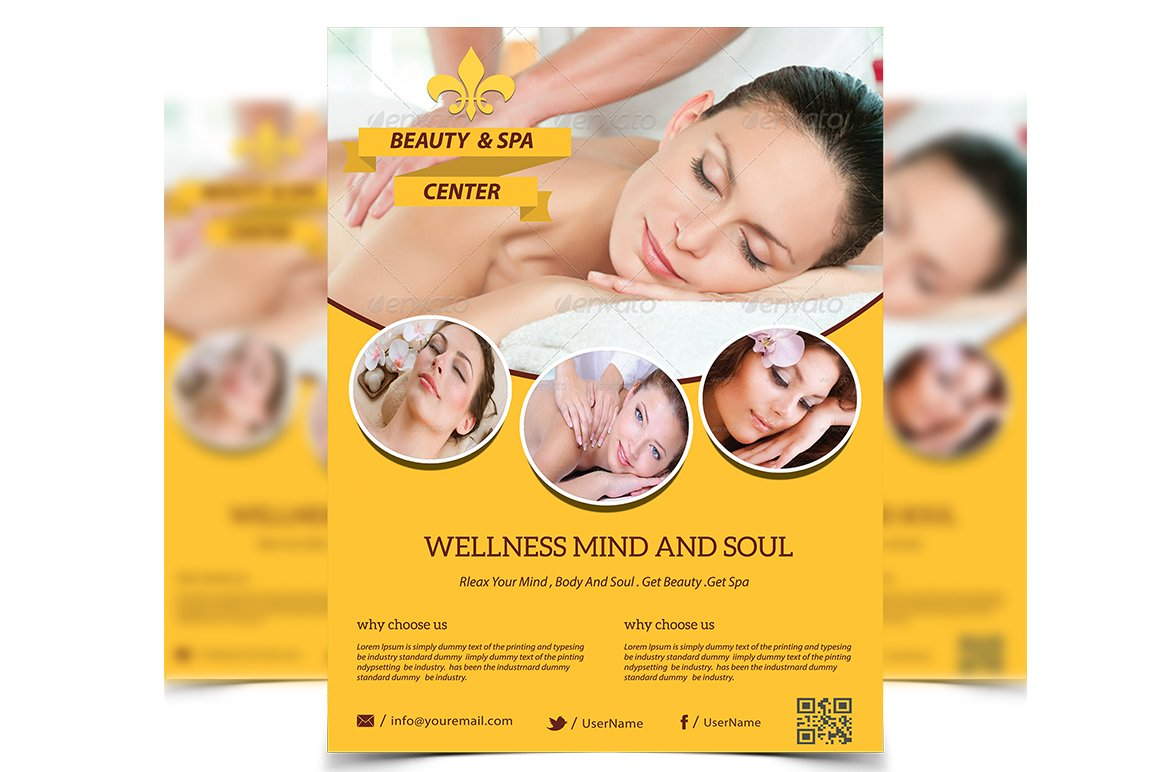 Beauty Spa Flyer Flyer Templates Creative Market - Free spa brochure templates