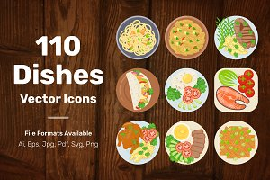 110 Dishes Vector Icons