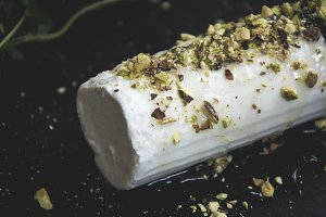 Goats cheese log on slate