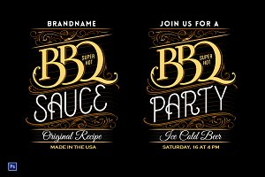 BBQ party / sauce lettering template